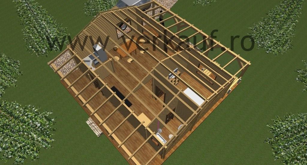 proiectul casei din lemn in 3D