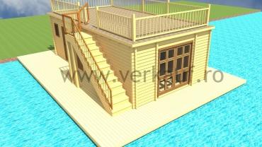 Casă din lemn construită pe apa