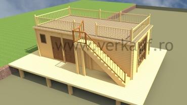 Maison en bois construite sur l'eau