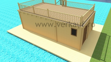 Wooden house built on water