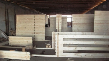 Wooden house in our factory