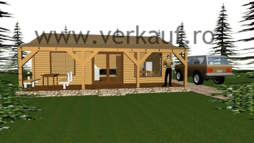 3D model of the wooden house