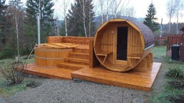 hot tub and barrel sauna