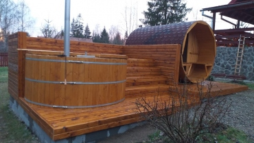 hot tub and barrel sauna